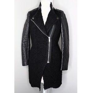 Zara Leather and Alpaca Quilted Moto Biker Jacket